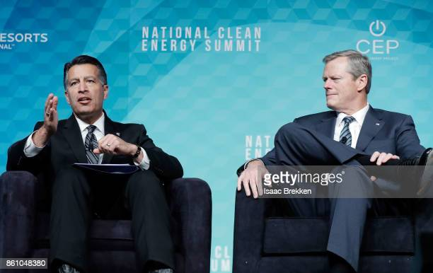 Nevada Governor Brian Sandoval and Massachusetts Governor Charlie Baker speak during the National Clean Energy Summit 90 on October 13 2017 in Las...
