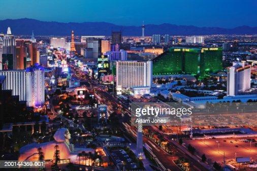USA, Nevada, Las Vegas, dusk, elevated view