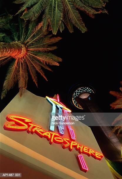 USA, Nevada, Las Vegas, palm trees below Stratosphere Tower at night