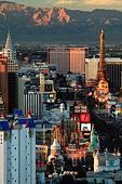 USA, Nevada, Las Vegas, sunset, elevated view