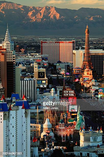 USA, Nevada, Las Vegas, sunset, elevated view