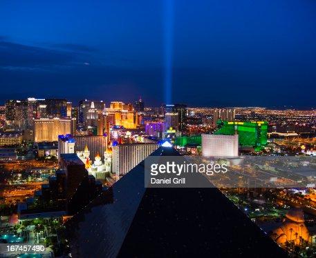 USA, Nevada, Las Vegas, View of city at night : Stock Photo