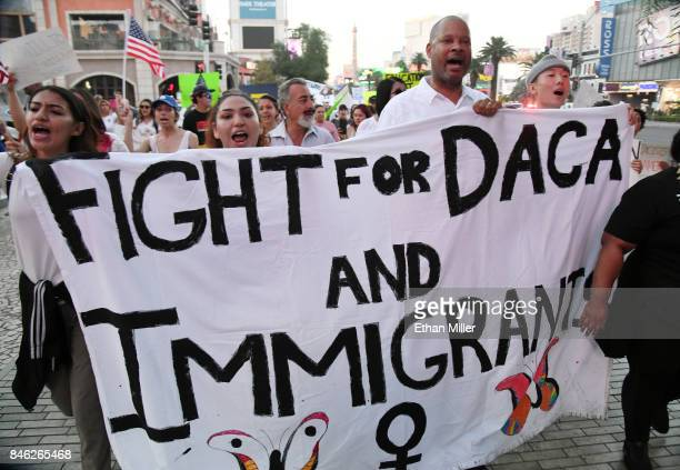 Nevada Senate Majority Leader Aaron D Ford joins immigrants and supporters as they march on the Las Vegas Strip during a 'We Rise for the Dream'...