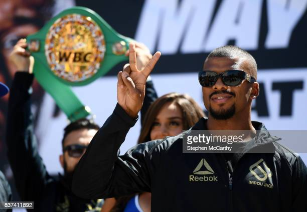 Nevada United States 22 August 2017 Badou Jack during the Grand Arrival at Toshiba Plaza in Las Vegas USA ahead of his WBA Light Heavyweight bout...