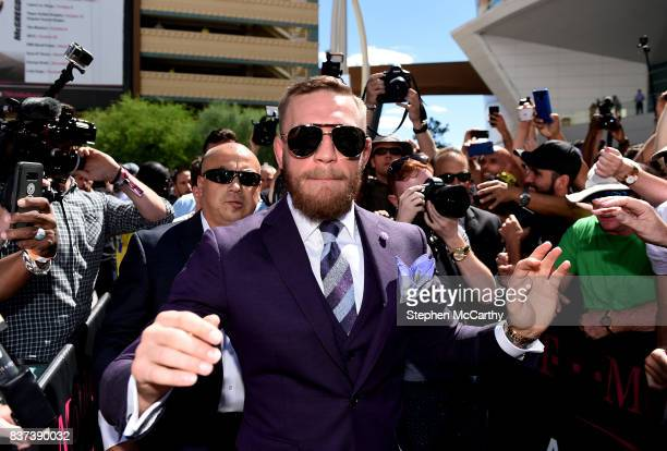 Nevada United States 22 August 2017 Conor McGregor during the Grand Arrival at Toshiba Plaza in Las Vegas USA ahead of his boxing match with Floyd...