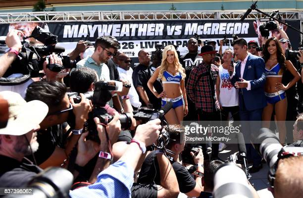 Nevada United States 22 August 2017 Floyd Mayweather Jr during the Grand Arrival at Toshiba Plaza in Las Vegas USA ahead of his boxing match with...