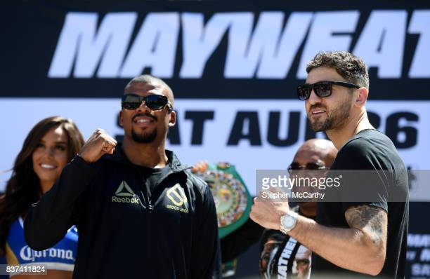 Nevada United States 22 August 2017 Nathan Cleverly right and Badou Jack during the Grand Arrival at Toshiba Plaza in Las Vegas USA ahead of their...