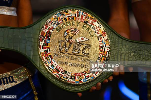 Nevada United States 23 August 2017 A detailed view of the belt that Conor McGregor and Floyd Mayweather Jr will fight for during a news conference...