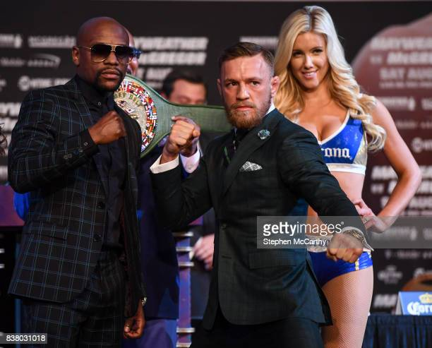 Nevada United States 23 August 2017 Conor McGregor and Floyd Mayweather Jr square off during a news conference at the MGM Grand in Las Vegas USA...