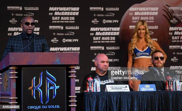 Nevada United States 23 August 2017 Floyd Mayweather Jr during a news conference at the MGM Grand in Las Vegas USA ahead of his super welterweight...