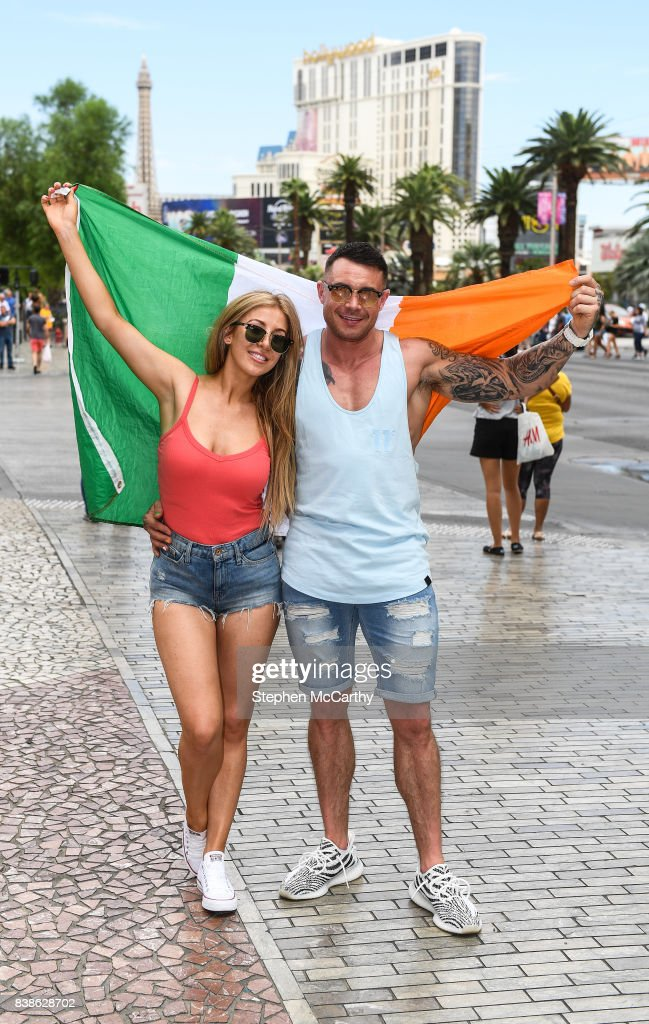 Nevada , United States - 24 August 2017; Conor McGregor supporters Gemma Hennessy from Artane, Dublin, and Ross Hayden from Newbridge, Co. Kildare, in Las Vegas, prior to the boxing match between Floyd Mayweather Jr and Conor McGregor at T-Mobile Arena in Las Vegas, USA, on Saturday August 26.