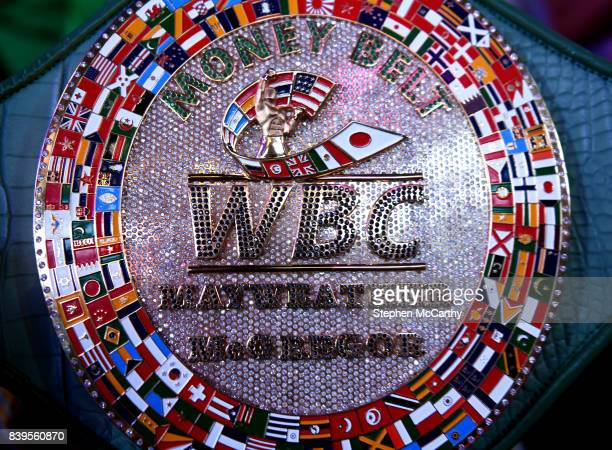 Nevada United States 25 August 2017 A detailed view of The Money Belt during the weighin for the super welterweight boxing match bewteen Floyd...