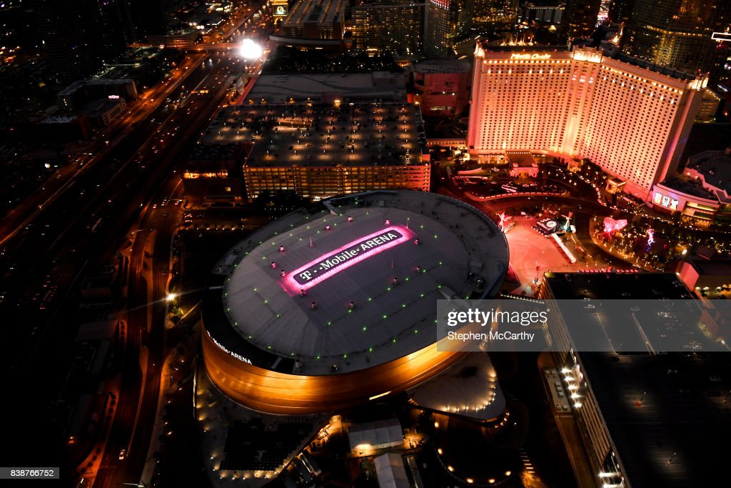 Nevada , United States - 25 August 2017; An aerial view of the T-Mobile Arena prior to the super welterweight boxing match between Floyd Mayweather Jr and Conor McGregor at T-Mobile Arena in Las Vegas, USA, on Saturday August 26.