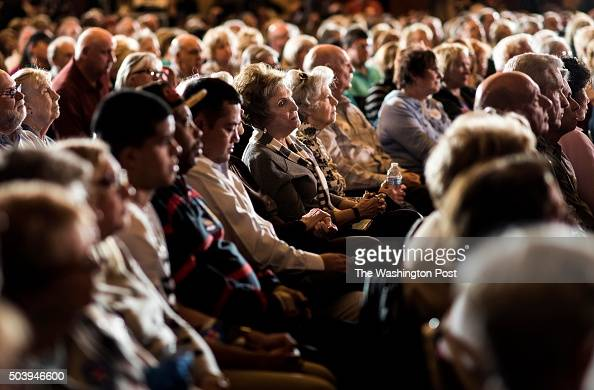 Nevada voters listen to former Secretary of State Hillary Clinton speak to a packed room of mostly senior citizens at Sun City Anthem in Henderson...