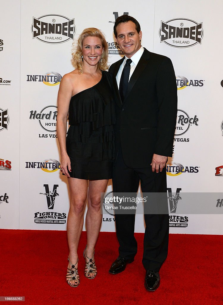 Nevada's Secretary of State Ross Miller (R) and his wife, Lesley Miller arrive at the Fighters Only World Mixed Martial Arts Awards 2013 at the Hard Rock Hotel & Casino on January 11, 2013 in Las Vegas, Nevada.