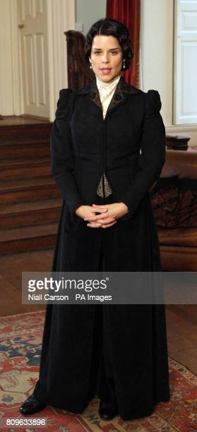 Neve Campbell speaks to the media during filming of a new TV miniseries Titanic Blood And Steel at Howth Castle in Dublin PRESS ASSOCIAITON Photo...