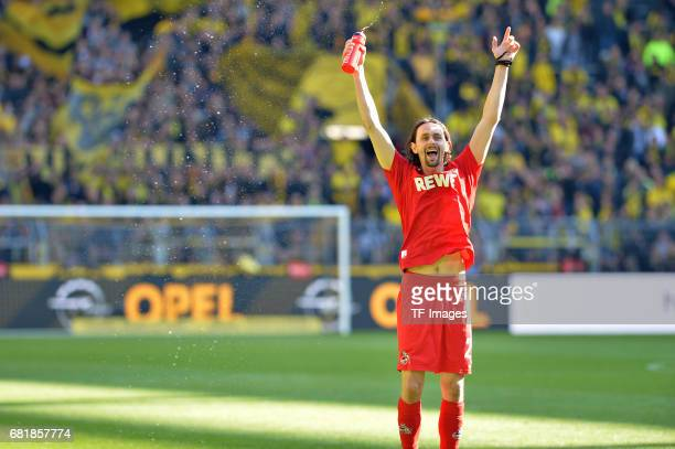 Neven Subotic former player of Borussia Dortmund is saying goodbye to the Dortmund fans after the final whistle during the Bundesliga match between...