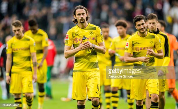 Neven Subotic of Borussia Dortmund after the final whistle during the Bundesliga match between Eintracht Frankfurt and Borussia Dortmund at the...