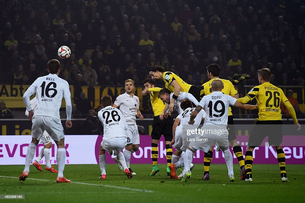 <a gi-track='captionPersonalityLinkClicked' href=/galleries/search?phrase=Neven+Subotic&family=editorial&specificpeople=2234315 ng-click='$event.stopPropagation()'>Neven Subotic</a> of Borussia Dortmund heads their first goal during the Bundesliga match between Borussia Dortmund and 1. FSV Mainz 05 at Signal Iduna Park on February 13, 2015 in Dortmund, Germany.