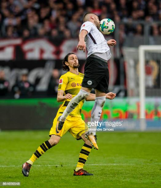 Neven Subotic of Borussia Dortmund in action during the Bundesliga match between Eintracht Frankfurt and Borussia Dortmund at the CommerzbankArena on...