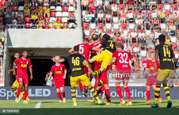 Neven Subotic of Borussia Dortmund in action during the preseason friendly match between RotWeiss Erfurt and Borussia Dortmund at the...