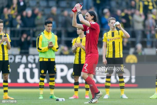 Neven Subotic of Colonge gestures during the Bundesliga match between Borussia Dortmund and FC Koeln at Signal Iduna Park on April 29 2017 in...