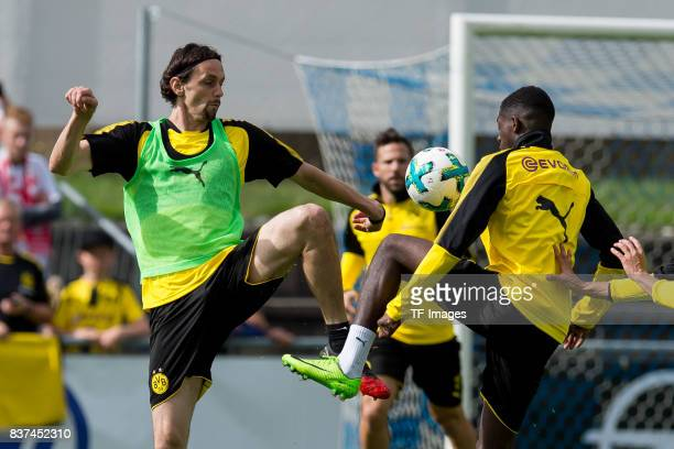 Neven Subotic of Dortmund and Ousmane Dembele of Dortmund battle for the ball during a training session as part of the training camp on July 27 2017...