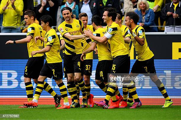 Neven Subotic of Dortmund celebrates the first goal with his team mates during the Bundesliga match between Borussia Dortmund and Hertha BSC Bwerlin...