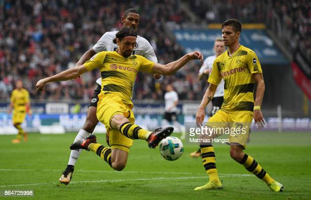 Neven Subotic of Dortmund clears the ball during the Bundesliga match between Eintracht Frankfurt and Borussia Dortmund at CommerzbankArena on...