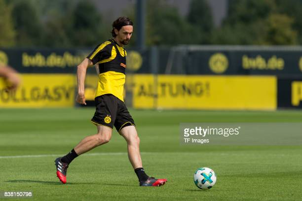 Neven Subotic of Dortmund controls the ball during a training session at the BVB Training center on August 22 2017 in Dortmund Germany