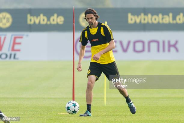 Neven Subotic of Dortmund controls the ball during a training session at the BVB Training center on September 24 2017 in Dortmund Germany