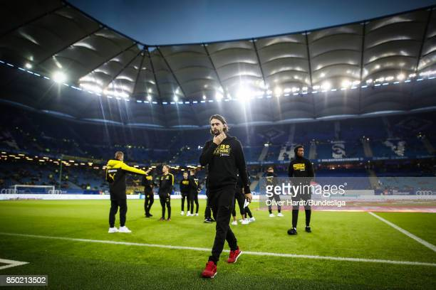 Neven Subotic of Dortmund looks on prior to the Bundesliga match between Hamburger SV and Borussia Dortmund at Volksparkstadion on September 20 2017...