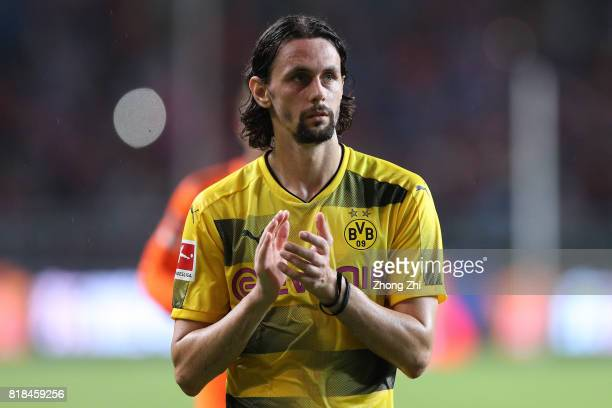 Neven Subotic of Dortmund reacts after the 2017 International Champions Cup football match between AC Milan and Borussia Dortmund at University Town...