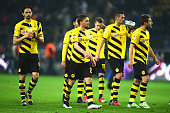 Neven Subotic of Dortmund reacts with his team mates after the Bundesliga match between Borussia Dortmund and 1 FC Koeln at Signal Iduna Park on...