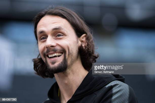 Neven Subotic of Dortmund smiles prior to the Bundesliga match between Eintracht Frankfurt and Borussia Dortmund at CommerzbankArena on October 21...