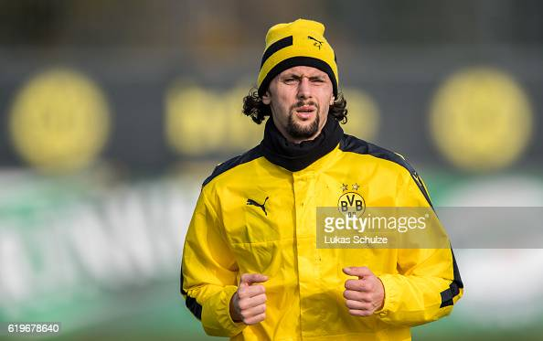 Neven Subotic of Dortmund warms up during a training session ahead of their Champions League match against Sporting CP at Dortmund Brackel Training...