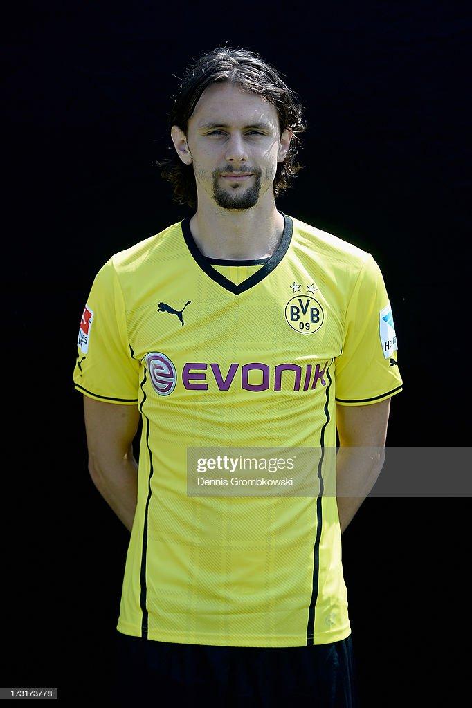 Neven Subotic poses during the Borussia Dortmund Team Presentation at Brackel Training Ground on July 9, 2013 in Dortmund, Germany.
