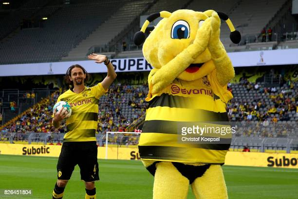 Neven Subotic welcomes the fans during the Borussia Dortmund Season Opening 2017/18 at Signal Iduna Park on August 4 2017 in Dortmund Germany