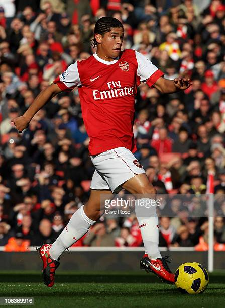 Neves Denilson of Arsenal in action during the Barclays Premier League match between Arsenal and West Ham United at Emirates Stadium on October 30...