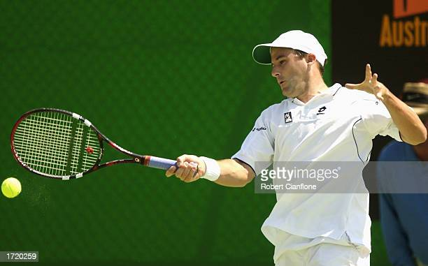 Neville Godwin South Africa in action during his qualifying match against Andreas Vinciguerra of Sweden during the Australian Open qualifying rounds...