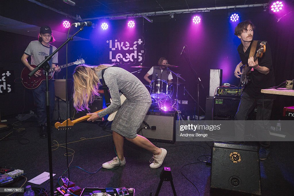 Neville James, Isabel Munoz-Newsome and Henry Brown of Pumarosa perform at The Wardrobe during Live At Leeds on April 30, 2016 in Leeds, England.
