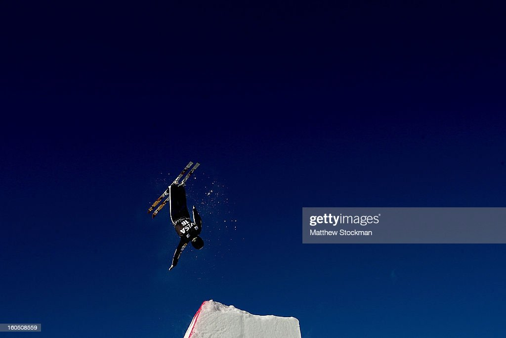 Nevin Brown #16 jumps while training for the Mens Aerials during the Visa Freestyle International at Deer Valley on February 1, 2013 in Park City, Utah.