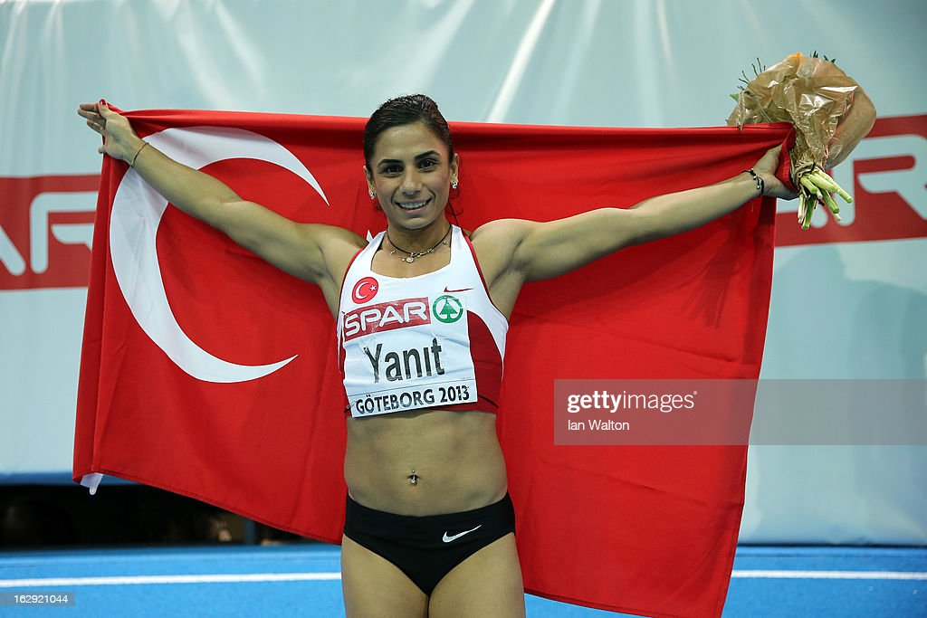 Nevin Yanit of Turkey celebrates winning gold in the Women's 60m Hurdles Final during day one of the European Athletics Indoor Championships at Scandinavium on March 1, 2013 in Gothenburg, Sweden.