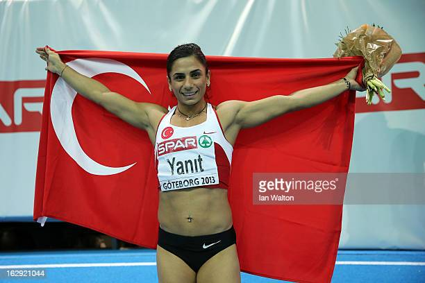 Nevin Yanit of Turkey celebrates winning gold in the Women's 60m Hurdles Final during day one of the European Athletics Indoor Championships at...