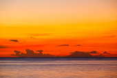 Nevis With Colorful Sunset
