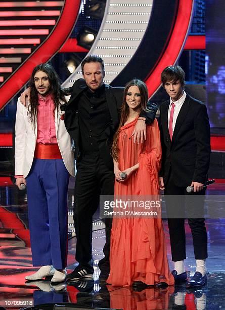 Nevruz Joku Francesco Facchinetti Nathalie Davide Mogavero attend the 'X Factor' Italian TV Show Final held at RAI Studios on November 23 2010 in...