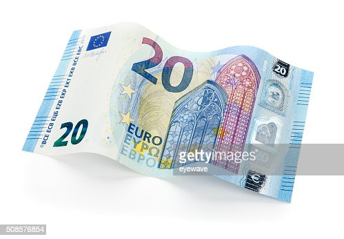New 20 Euro bill isolated with clipping path : Stock Photo
