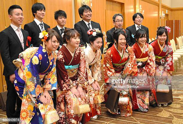 New 20yearold people pose for photographs at the Futaba City's ComingofAge ceremony on January 3 2016 in Iwaki Fukushima Japan Futaba city has been...