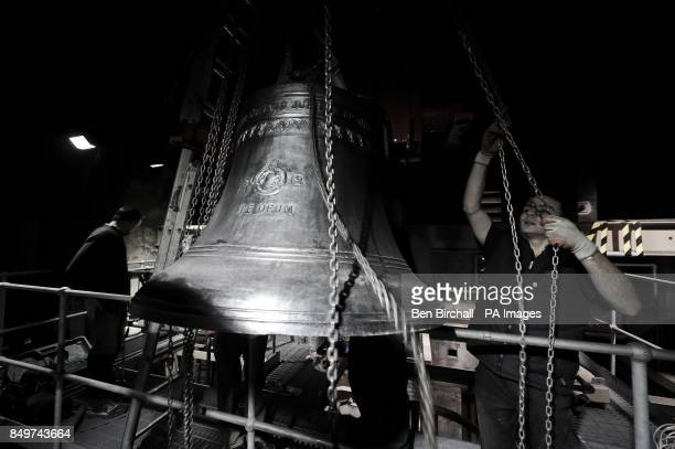 A new 8th bell is hoisted into the belfry at St Mary Redcliffe in Bristol to replace the old number 8 which was cast in 1763 and suffering from a...
