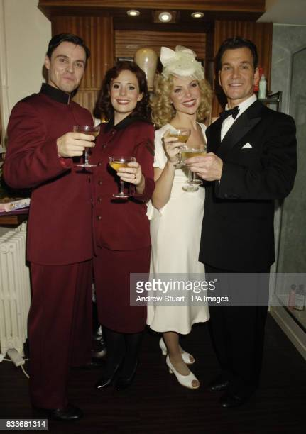 New additions to the cast of Guys and Dolls from left Norman Dowman Amy Nuttall and Samantha Janus pose with lead actor Patrick Swayze after their...